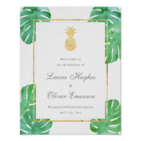 Elegant Tropical Pineapple Wedding Welcome Sign