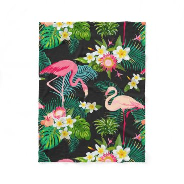 Beach Themed Elegant Tropical Pink Flamingo Floral Fleece Blanket