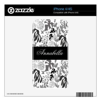 Elegant Tropical Plants and Leaves Custom Name iPhone 4S Skin