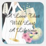 Elegant Tropical Wedding Couple Square Sticker