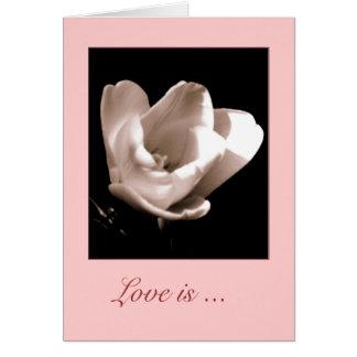 Elegant Tulip 'Love is ....' Blank Greeting Card