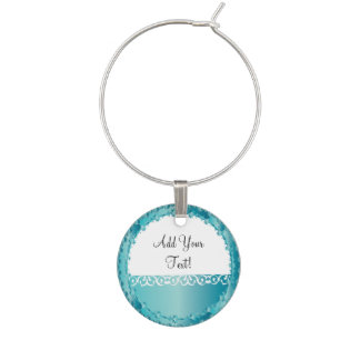 Elegant Turquoise All Occasion, You Personalize it Wine Charm