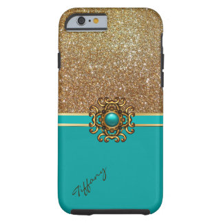 Elegant Turquoise and Gold iPhone 6 case