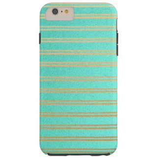 Elegant Turquoise and Gold Shimmer Stripes Tough iPhone 6 Plus Case