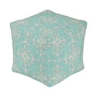 Elegant Turquoise and Off White Damask Pattern Cube Pouf