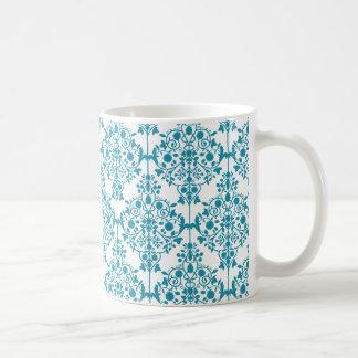 Elegant TURQUOISE and WHITE Damask Mug
