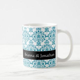 Elegant TURQUOISE and WHITE Wedding Damask Mug