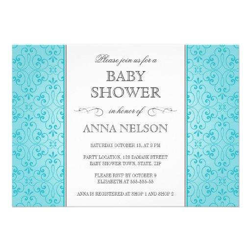 elegant turquoise aqua blue damask baby shower 5x7 paper
