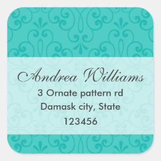 Elegant turquoise aqua blue ornate damask address square sticker