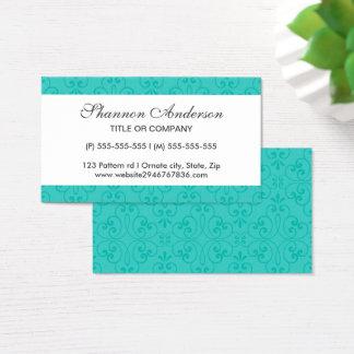 Elegant turquoise aqua blue ornate damask profile business card