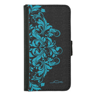 Elegant Turquoise & Black Girly Floral Lace Wallet Phone Case For Samsung Galaxy S5