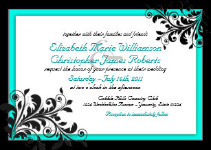 Elegant Turquoise Black Wedding Invitation