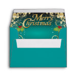 Elegant Turquoise Blue and Gold Christmas Envelope