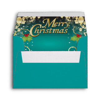Elegant Turquoise Blue and Gold Christmas Envelope