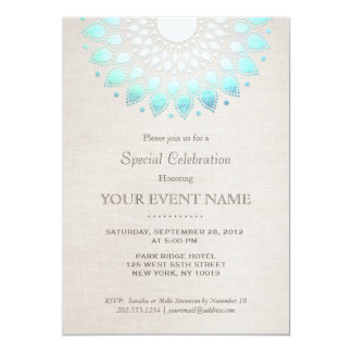 Elegant Turquoise Blue Beige Linen Look 5x7 Paper Invitation Card