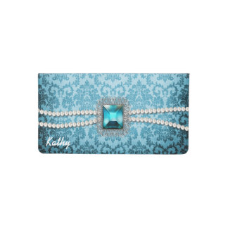 Elegant Turquoise Blue Damask Check Book Cover