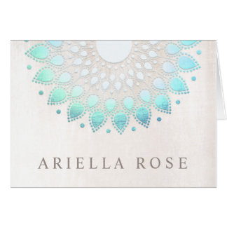 Elegant Turquoise Blue Floral Lotus White Marble Card