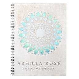 Elegant Turquoise Blue Floral Lotus White Marble Notebook