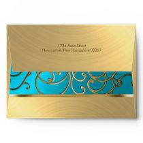 Elegant Turquoise Blue Gold Filigree Envelope