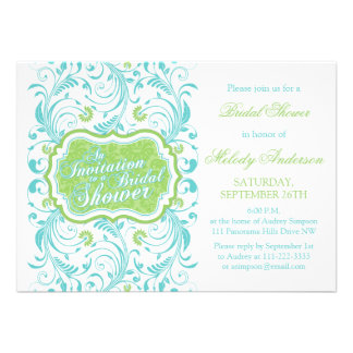 Elegant Turquoise Blue Green Floral Bridal Shower Personalized Announcements