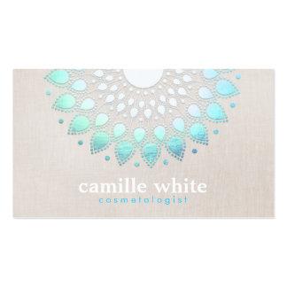 Elegant Turquoise Blue Lotus Logo Business Card