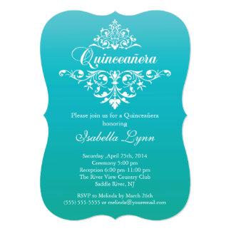 Elegant Turquoise Blue Ombre Quinceañera Party Card