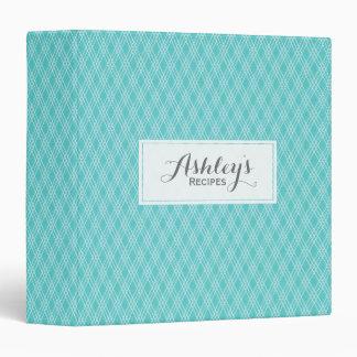 Elegant Turquoise Blue Pattern Recipe Monogram Binder