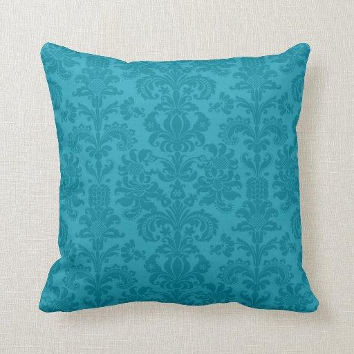 Elegant Turquoise Blue Vintage Damasks Throw Pillow Zazzle