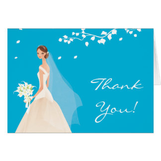 Elegant Turquoise Bride Thank You Note Card
