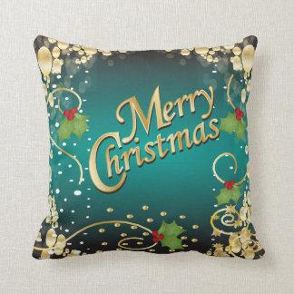 Elegant Turquoise Christmas Throw Pillow