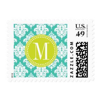 Elegant Turquoise Damask Personalized Stamp