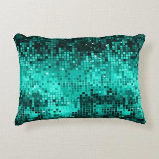 Elegant Turquoise Disco Ball Glitter & Sparkles Accent Pillow