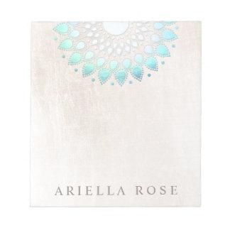 Elegant Turquoise Floral Lotus Notepad