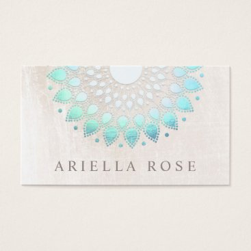 sm_business_cards Elegant Turquoise Floral Lotus White Marble Business Card