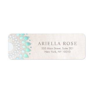 Elegant Turquoise Floral Lotus White Marble Label