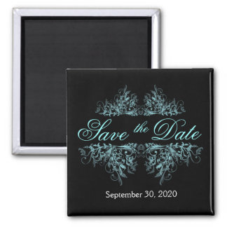 Elegant Turquoise Flower Swirls Save The Date 2 Inch Square Magnet