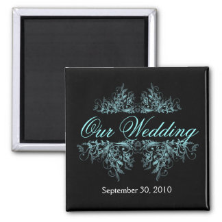Elegant Turquoise Flower Swirls Save The Date Wedd 2 Inch Square Magnet