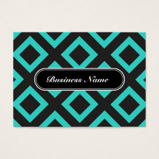 Elegant Turquoise Graphic Square Pattern Business Card