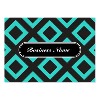 Elegant Turquoise Graphic Square Pattern Large Business Card
