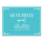 Elegant Turquoise Key Moving Announcement Postcard