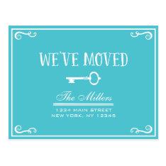 Elegant Turquoise Key Moving Announcement Postcard at Zazzle