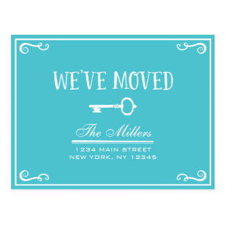 Elegant Turquoise Key Moving Announcement Postcard