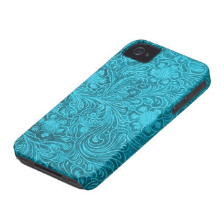 Elegant Turquoise Leather Look Embossed Flowers iPhone 4 Case-Mate Case