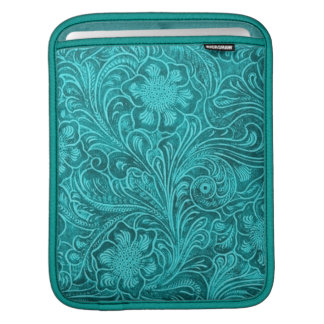 Elegant Turquoise Leather Look Embossed Flowers Sleeve For iPads