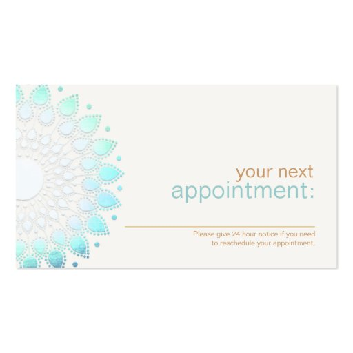 Elegant Turquoise Lotus Floral Appointment Card Business Card