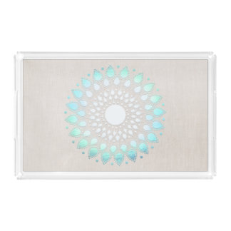 Elegant turquoise Lotus Mandala Linen Look Serving Tray