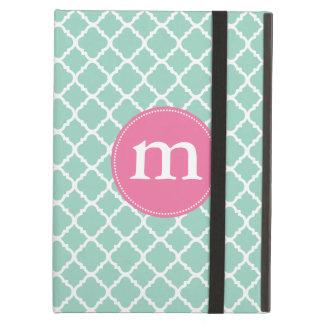 Elegant Turquoise Moroccan Quatrefoil Personalized iPad Air Cover