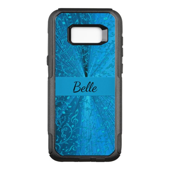 Elegant Turquoise Music Notes Lace Personalized OtterBox Commuter Samsung Galaxy S8+ Case