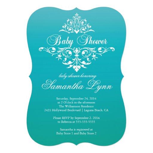 elegant turquoise ombre baby shower invitation 5 quot x 7