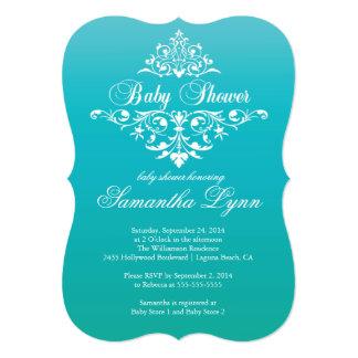 Elegant Turquoise Ombre Baby Shower Invitation